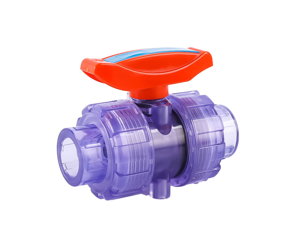 Transparent Double Union Ball Valve